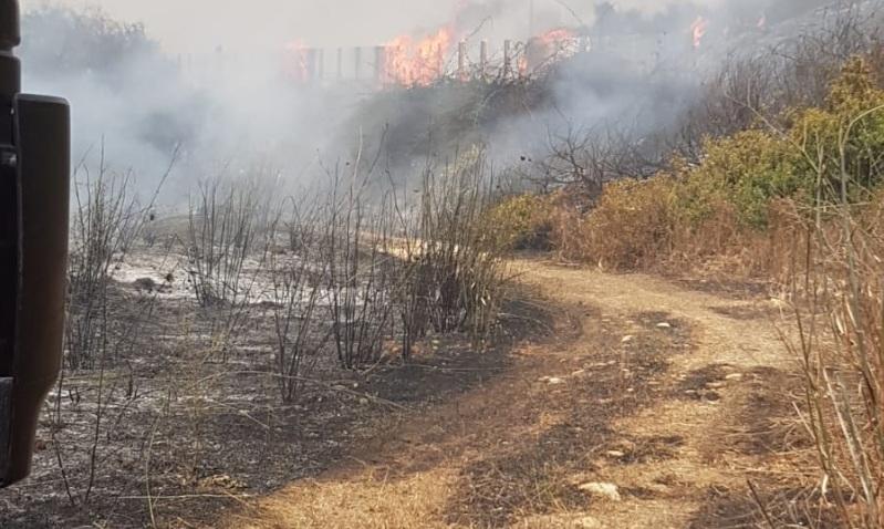 Photo of כביש 6 נסגר לשני הכיוונים במחלף אייל בשל שריפה בשדות משני צידי הכביש