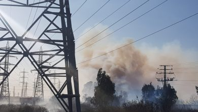 "Photo of שריפת קוצים גדולה סמוך לרכבת בפרדס חנה. הוקם חפ""ק והוקפצו מטוסי כיבוי"