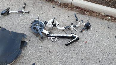 """מה שנותר מהאופניים של שני הרוכבים מעוצמת ההתנגשות בהם. צילום: דוברות מד""""א"""