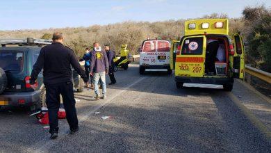 """התאונה הקשה עם פתוע אנוש סמוך לאלוני אבא. צילום: דוברות מד""""א כרמל"""