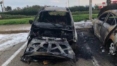 הרכבים נשרפו כליל נבדק חשד שאחד הוצת והשאר נשרפו כתוצאה מכך. צילום: רשת ניוזים