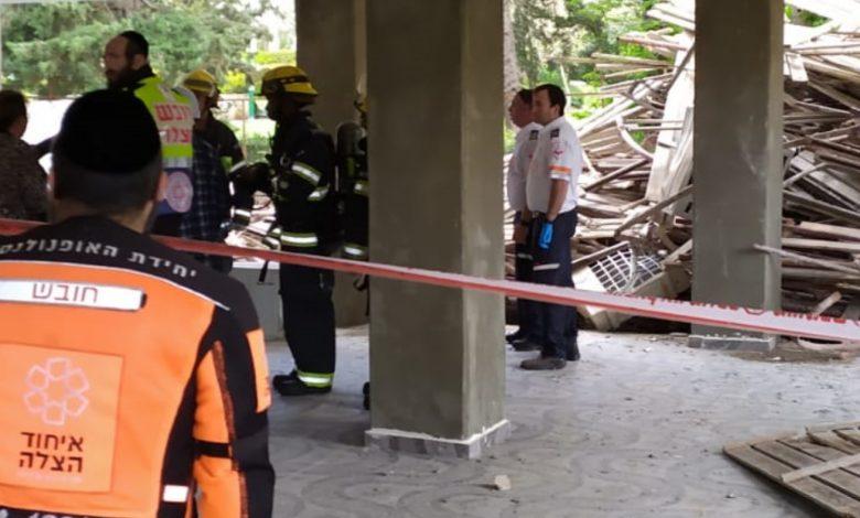 אתר בנייה בחיפה בו נהרג פועל מפיגום. צילום: דוברות כיבוי חוף