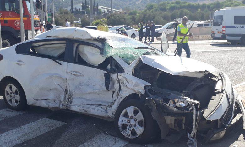 התאונה הקשה בצומת התשבי עם 7 פצועים. צילום: איחוד הצלה