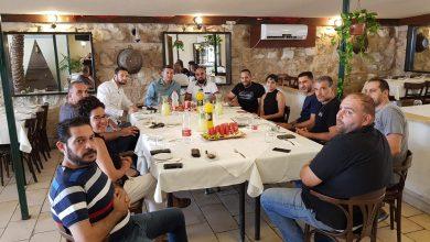 דוד עציוני בפגישה היום עם בעלי העסקים במושבה הגרמנית. צילום: באדיבות אייל