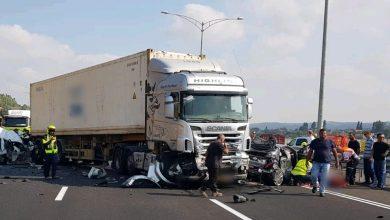 """התאונה הקשה בכביש 70 סמוך למחלף יגור. צילום: תיעוד מבצעי מד""""א"""