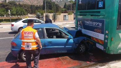 Photo of תאונה קשה בצומת מקסים ביציאה הדרומית מחיפה. רכב התנגש באוטובוס