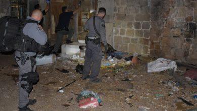 """אנשי יס"""" וחבלנים במבנה שהוסב לאורווה בלב שכונת מגורים בעכו. צילום: דוברות המשטרה"""