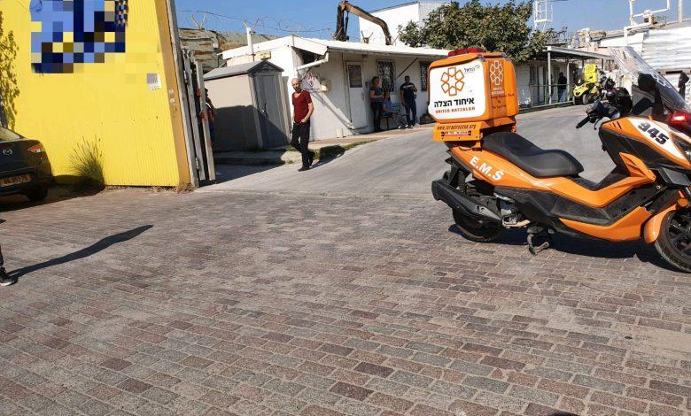זירת תאונת העבודה הקטלנית במפעל בחיפה. צילום: איחוד הצלה