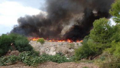 Photo of 13 צוותי כיבוי פועלים בשריפה גדולה שמאיימת על הבתים בשלומי. הבתים ברחוב סנונית פונו מדייריהם