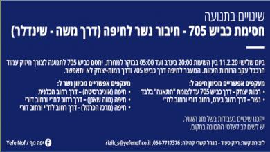 Photo of עדכון חשוב לנהגי חיפה, נשר והקריות! עקב עבודות דחופות של הרכבל, תתבצע הלילה סגירה של דרך 705
