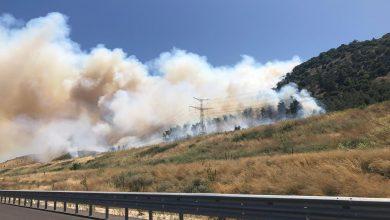 Photo of שריפת חורש גדולה ליד קריית טבעון. נסיונות להגן על מתקן גז טבעי. מטוסי כיבוי פועלים בזירה