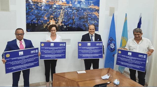 השגריר הקזחי, ראש עיריית חיפה, קונסול הכבוד של קזחסטן וסגן ראש העיר. זוכרים את אל פאראבי. צילום פרטי