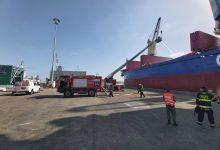שריפה באונייה בנמל קישון. צילום ש ט